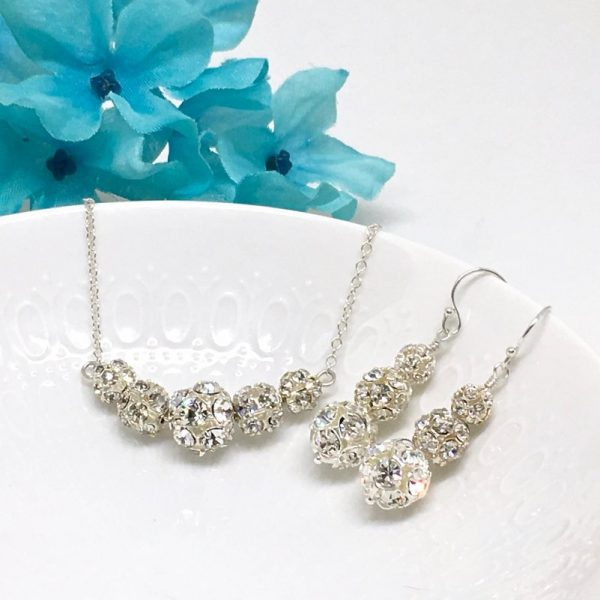 Pave Necklace with Backdrop Jewelry For Evening Gowns Rhinestone Ball