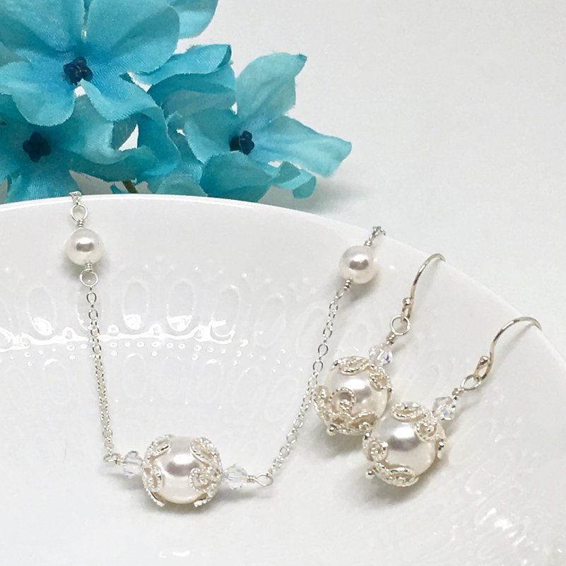 Pearl Bridal Necklace Set East-West