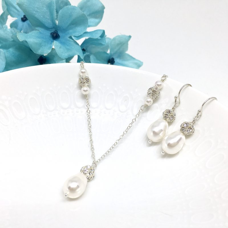 Teardrop Pearl Necklace With Backdrop Sterling Silver Pave Crystal