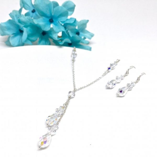 Crystal Lariat Necklace Prom Jewelry Set
