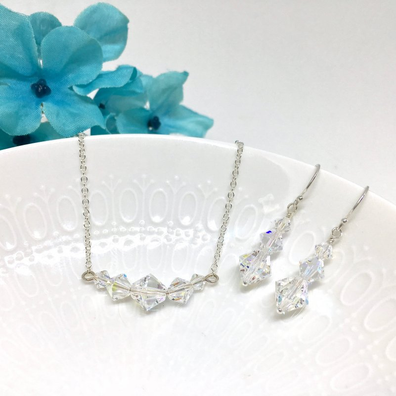 Swarovski Crystal Beads Necklace Backdrop Necklace Graduated Size Crystal Formal Fashion Jewelry