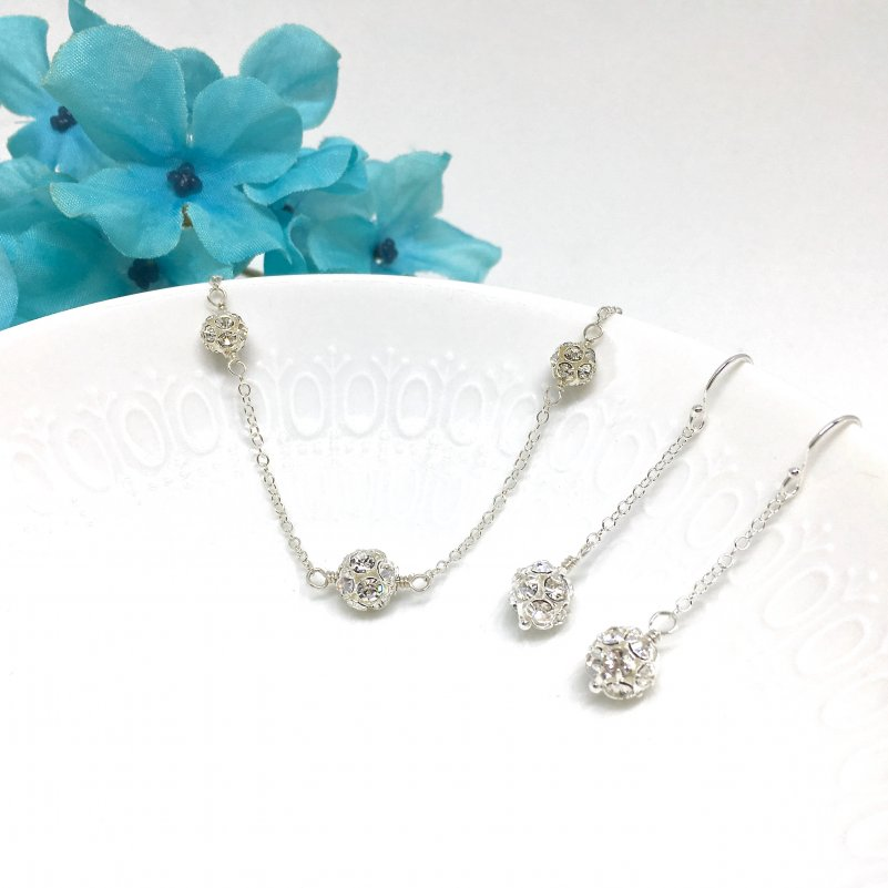 Dainty Silver Necklace Pave Jewelry Delicate Silver Necklace Sparkly Rhinestone Ball