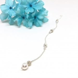 Pearl and crystal ball back necklace
