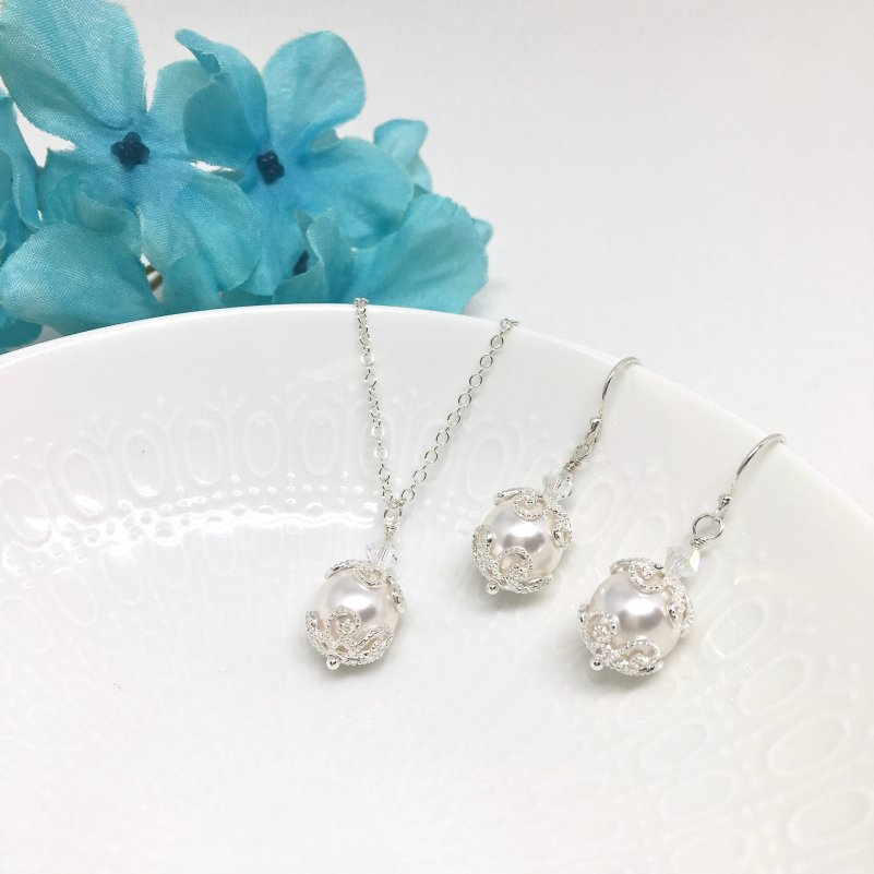 Pearl Pendant Necklace Bridesmaid Jewelry Set Vintage Style Sterling Silver Scroll Filigree