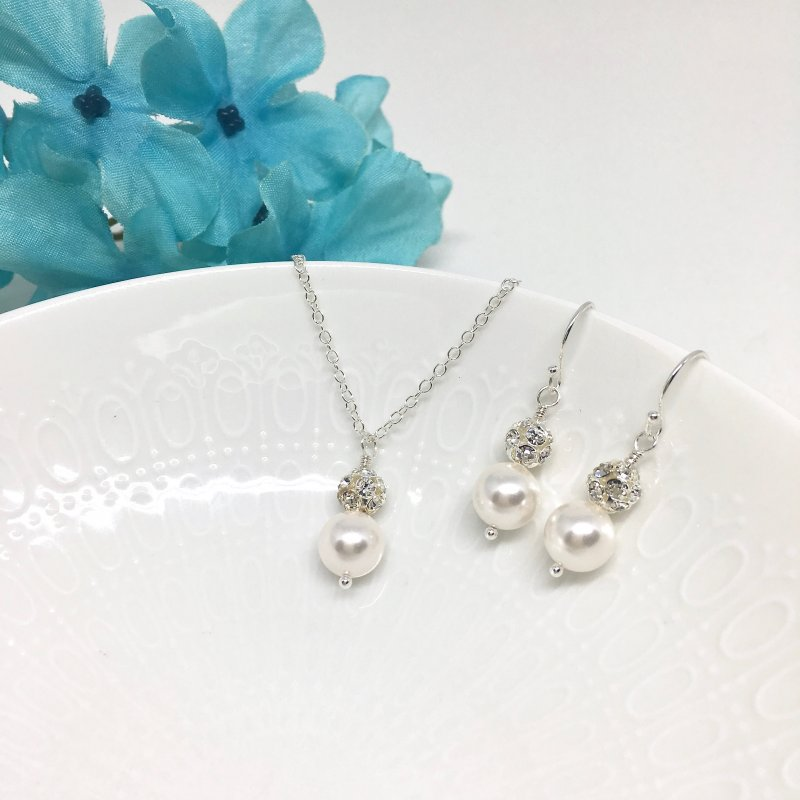 Sparkly Pearl Bridesmaid Jewelry