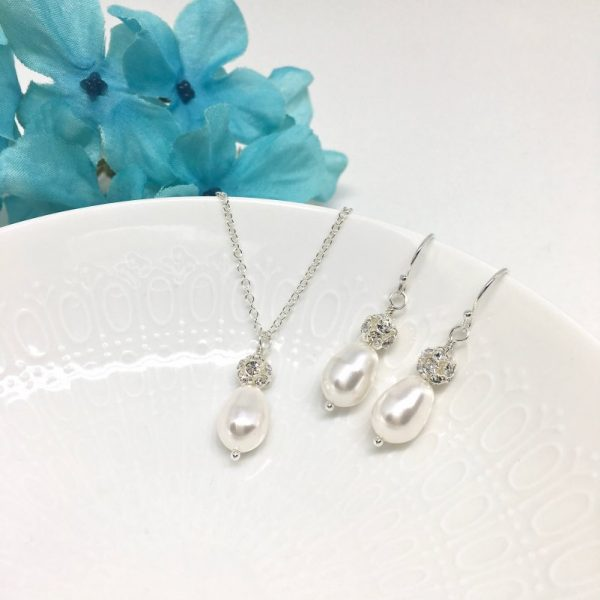 Teardrop Pearl Pave Crystal Necklace Earrings Bridesmaid Jewelry Set