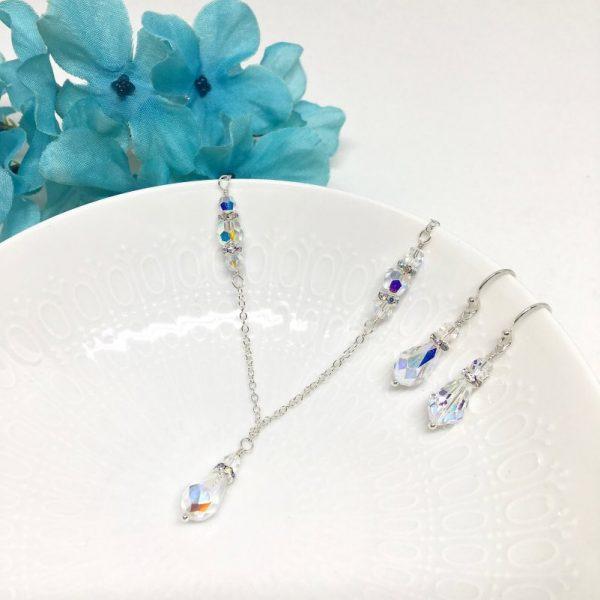 Teardrop Pendant Necklace Swarovski Bridal Jewelry Sterling Silver Wedding Necklace