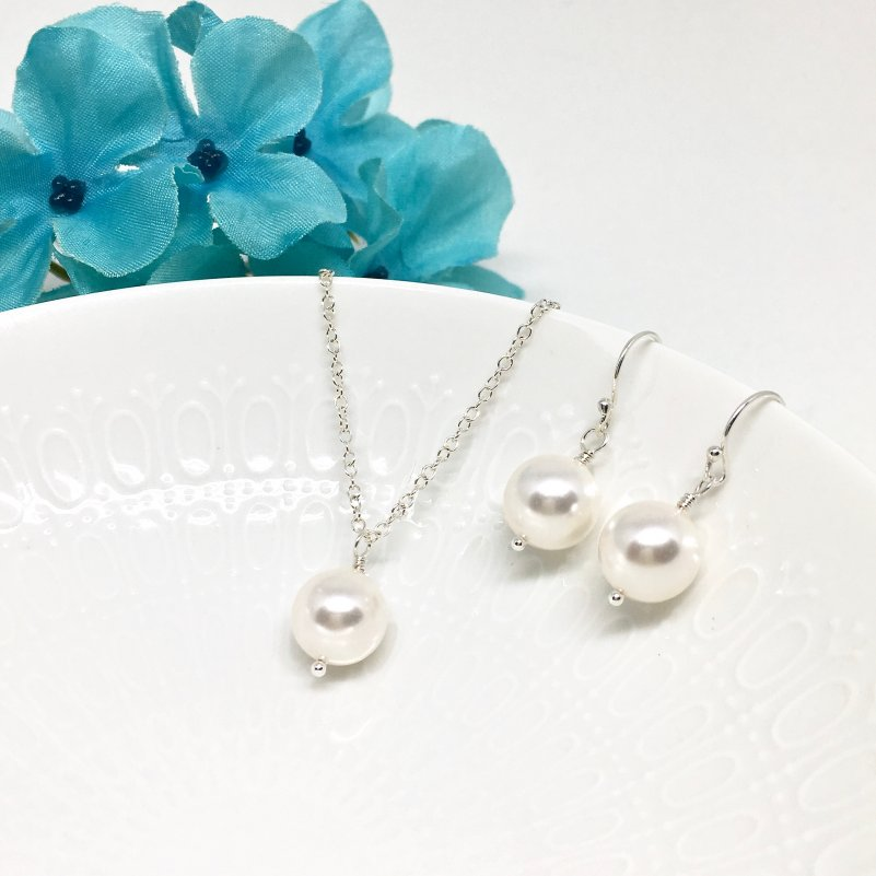 Single Pearl Necklace Bridesmaid Jewelry Set