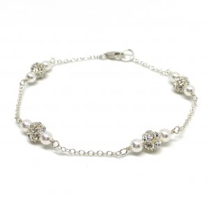 Swarovski pearl and pave crystal ball bridal Bracelet sterling silver chain
