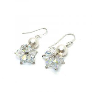 Swarovski Pearl Crystal Cluster Earrings
