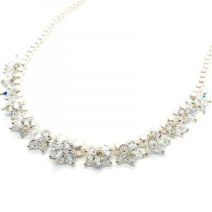Pearl Crystal Cluster Wedding Necklace Bridal Jewelry Set