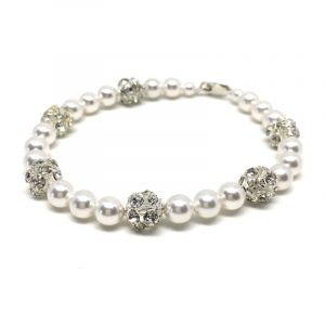Pearl With Rhinestone Bracelet Pave Crystal