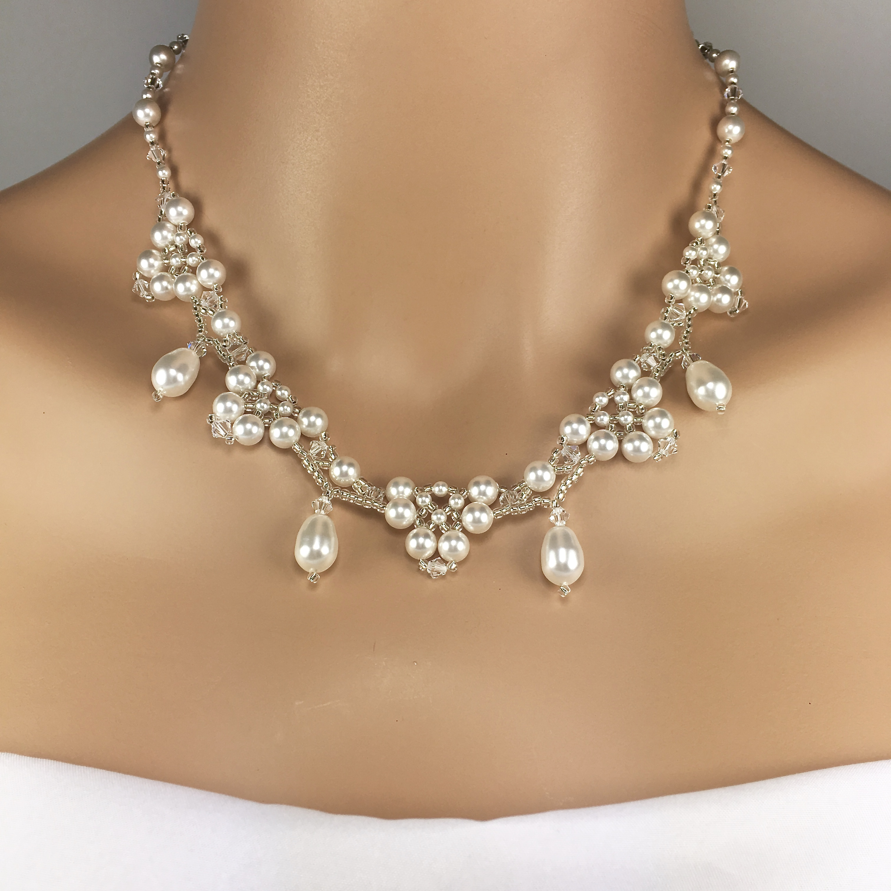 70a2c55556a067 Vintage Style Pearl Bridal Jewelry Set Beaded Pearl Necklace Amelia Collection  SBJ-AMEL