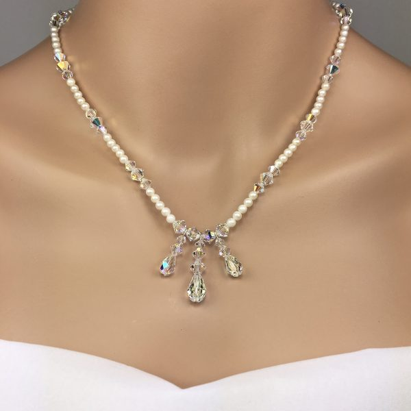 Pearl and Swarovski Crystal Pendant Bridal Necklace Set