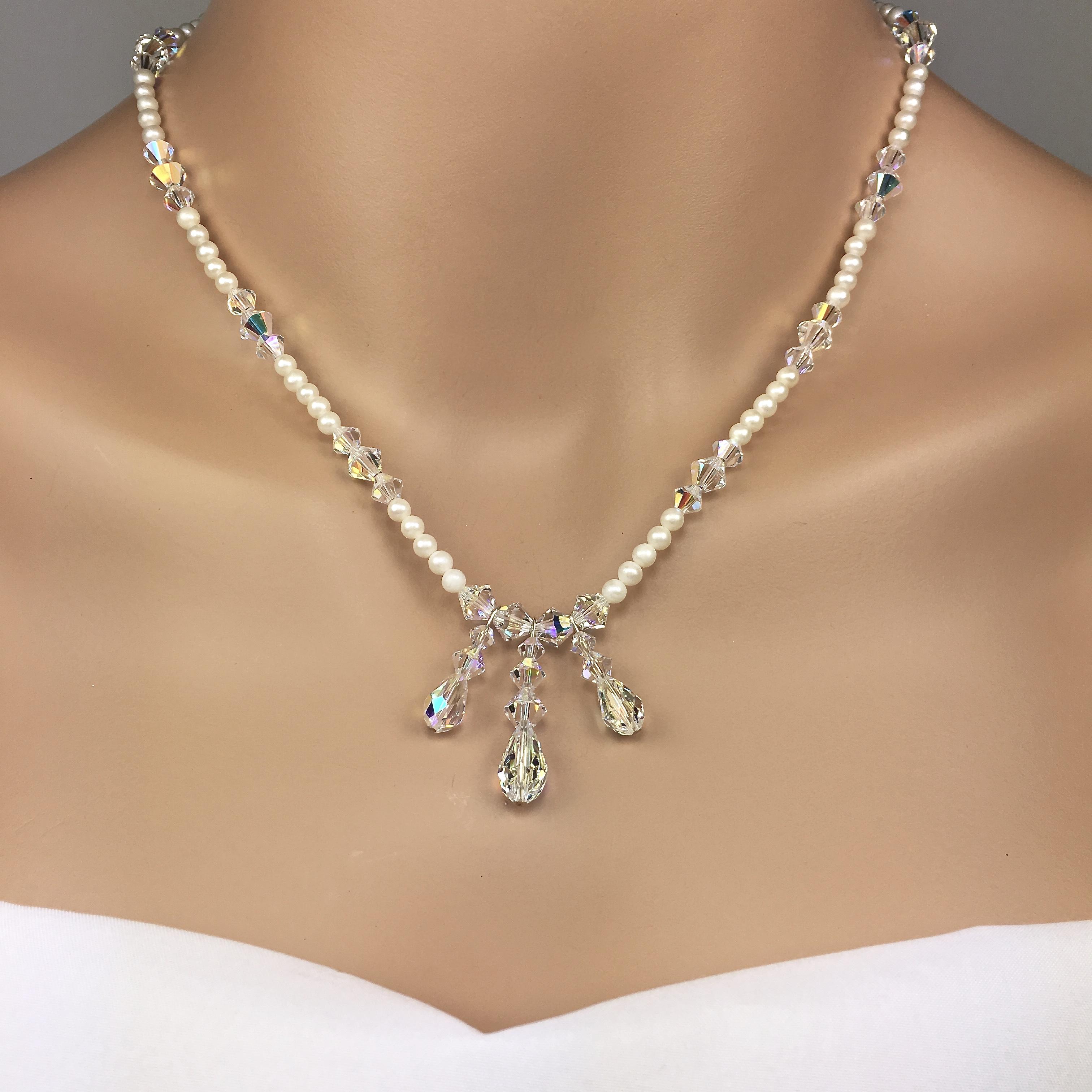 Pearl and Swarovski Crystal Pendant Bridal Necklace Set