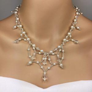 Beaded Swarovski Crystal Pearl Statement Wedding Jewelry