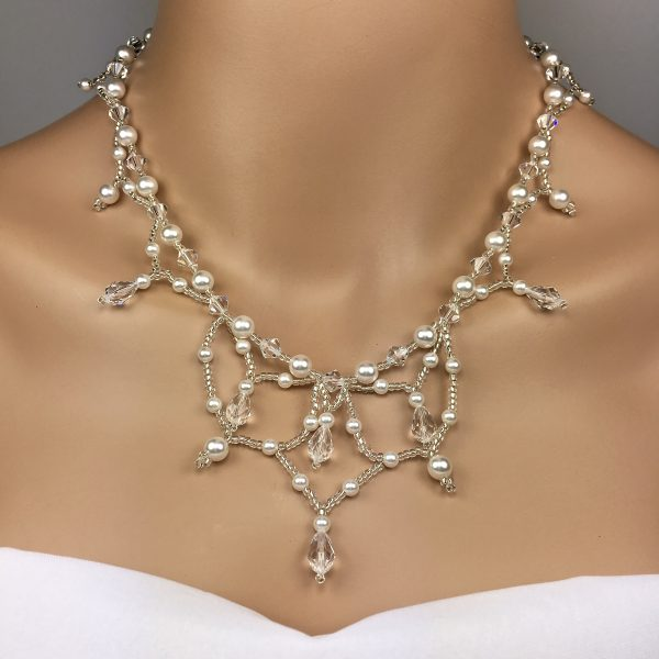 Beaded Swarovski Crystal Pearl Statement Wedding Jewelry