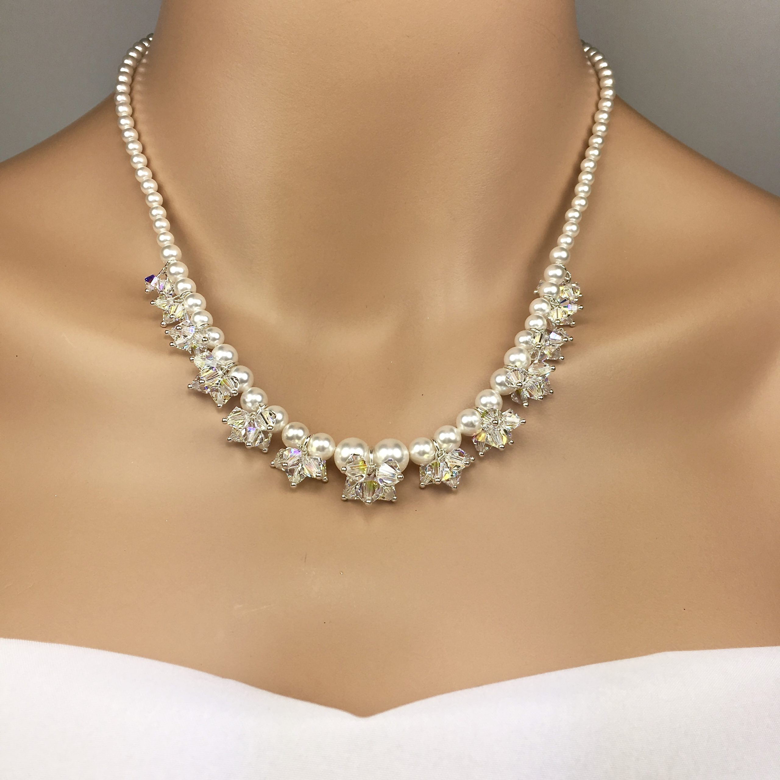 Pearl Crystal Cluster Wedding Necklace
