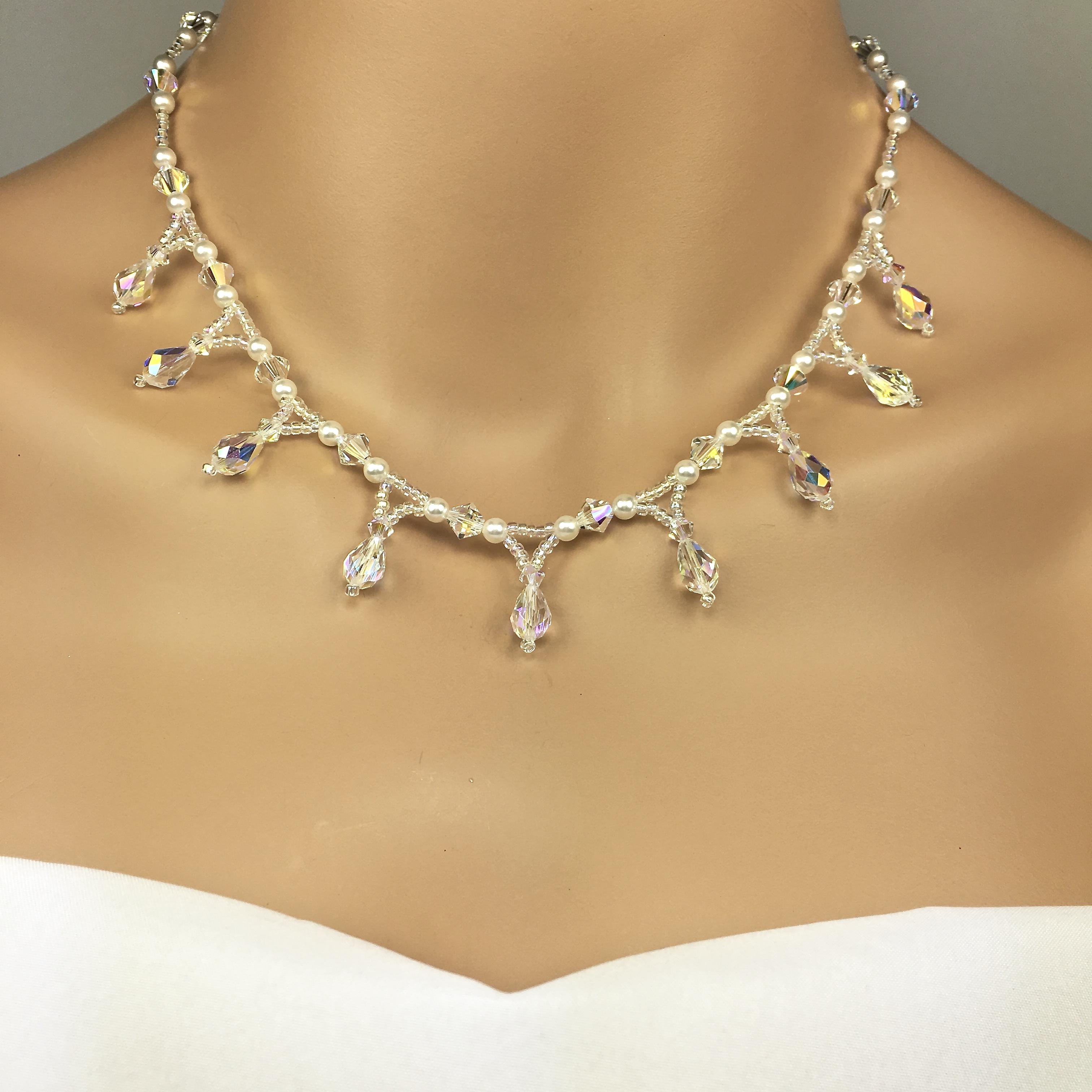 Beaded Teardrop Bridal Necklace