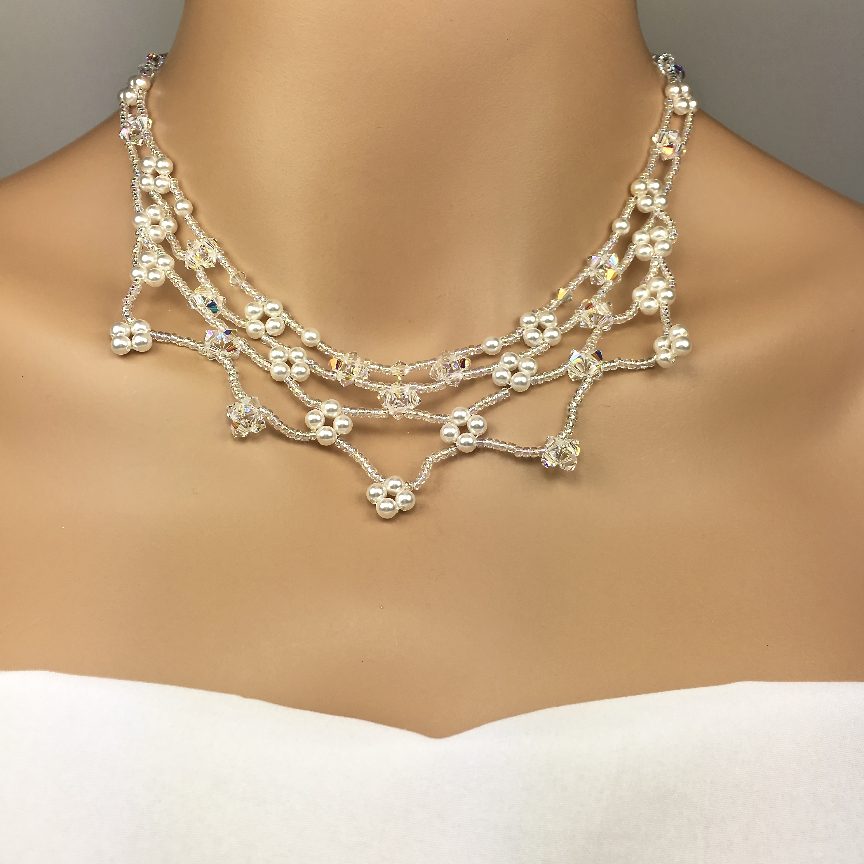 39c8ee6a5e9791 Beaded Floral Bridal Necklace Swarovski Crystal Pearl Kate Collection SBJ -KATE