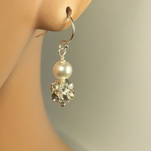 Jewelry for Mother of the Bride Pearl with Rhinestone Earrings Pave Ball