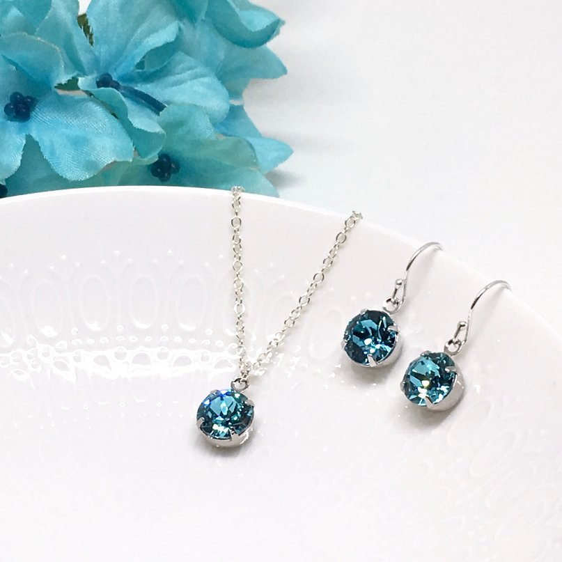 Turquoise Blue Swarovski Crystal Necklace With Backdrop Attachment Sterling Silver