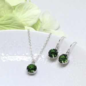 Fern Green Necklace Set Solitaire Swarovski Crystal Sterling Silver