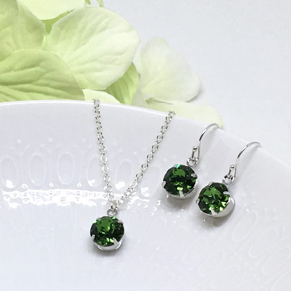 Fern Green Necklace Set Solitaire Swarovski Crystal Sterling Silver