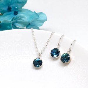 Teal Swarovski Pendant Necklace Sterling Silver Bridesmaid Prom Jewelry