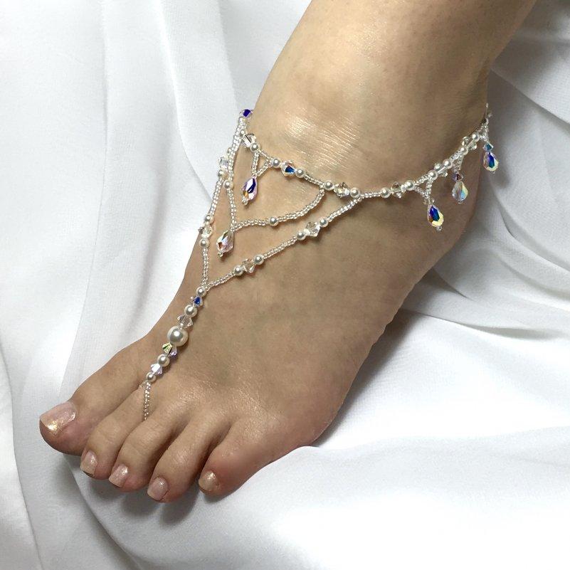 691b035e8214d8 Bridal Barefoot Sandals Swarovski Crystal Pearl Design 1 Fringe BBSF-1CP