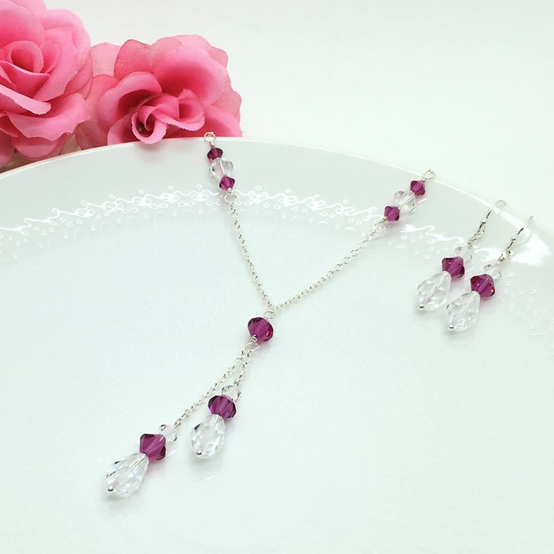 Fuchsia Lariat Necklace