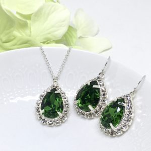 Green Bling Prom Jewelry