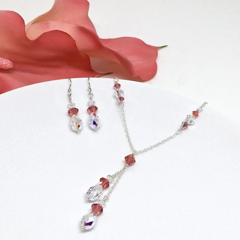 Swarovski Padparadscha Lariat Necklace Watermelon Color Prom Jewelry