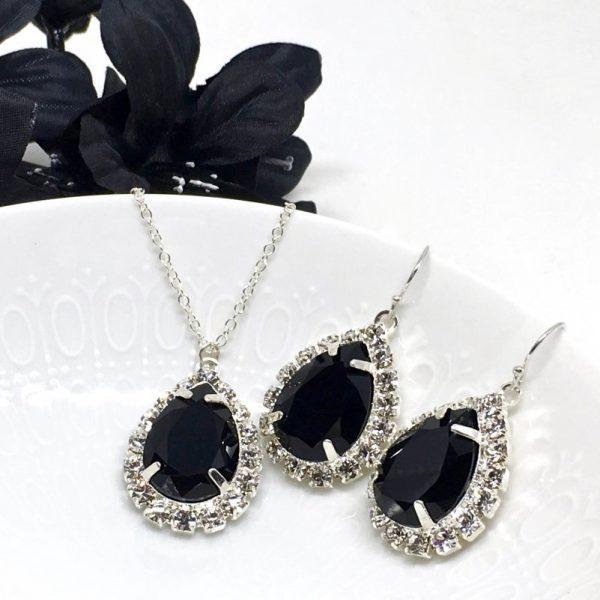 Black Prom Jewelry Swarovski Crystal Pear Shaped Halo Necklace