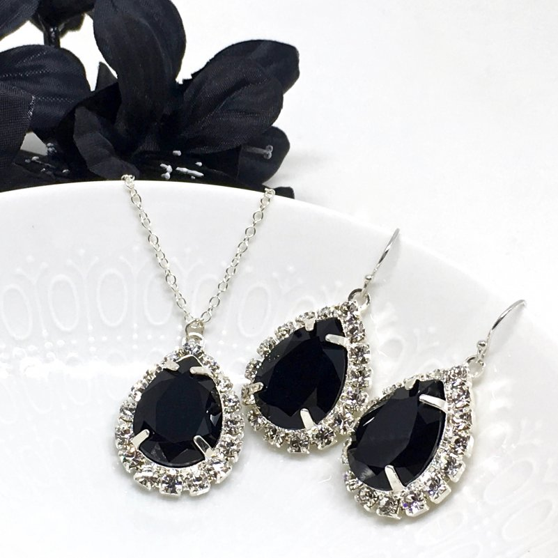Black Prom Jewelry Swarovski Crystal Pear Shaped Halo Necklace