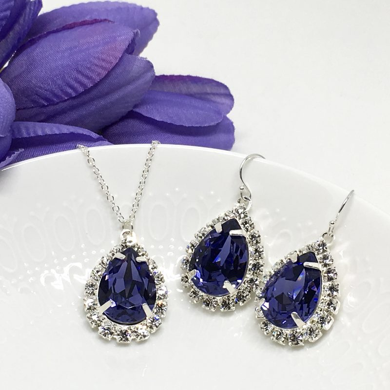 Purple Stone Necklace With Backdrop Tanzanite Swarovski Crystal Prom Jewelry