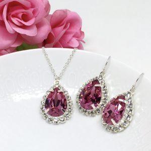 Pink Jewelry Set Swarovski Halo Necklace with Backdrop