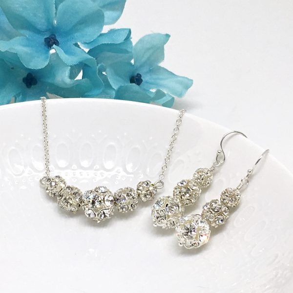 Sparkly Bridal Choker Bling Bridal Choker Necklace with Backdrop and Earrings Crystal Ball