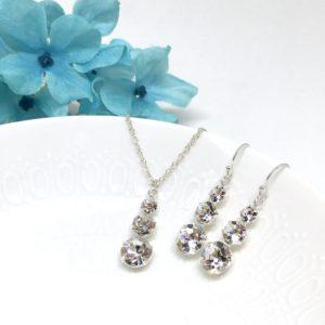 3 Stone Necklace Swarovski Crystal Bridal Jewelry Sterling Silver