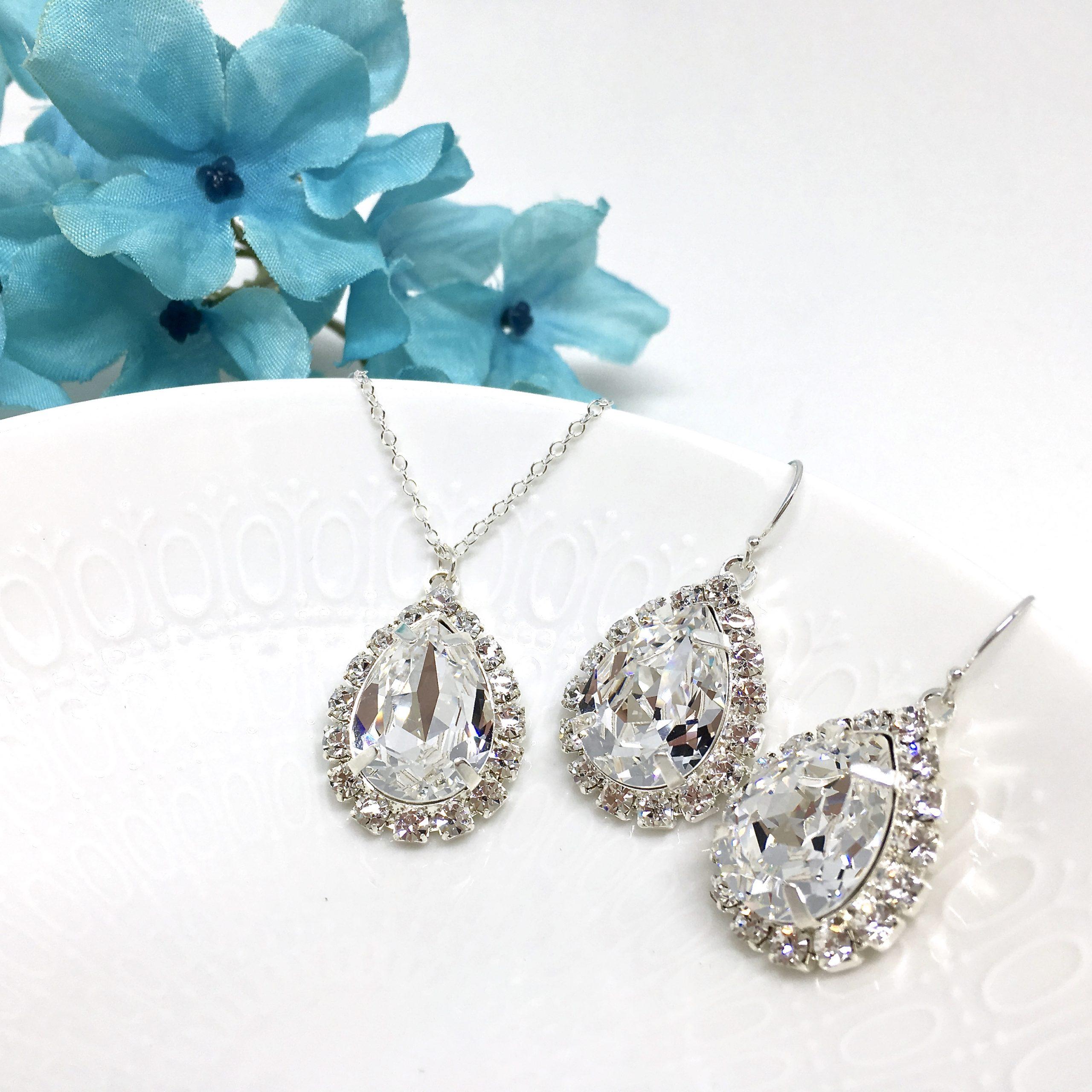 Sparkly Necklace Prom Jewelry Swarovski Halo Crystal