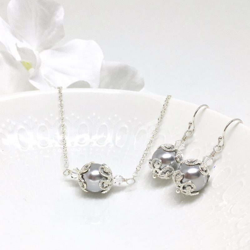 Grey vintage style Bridesmaid Jewelry