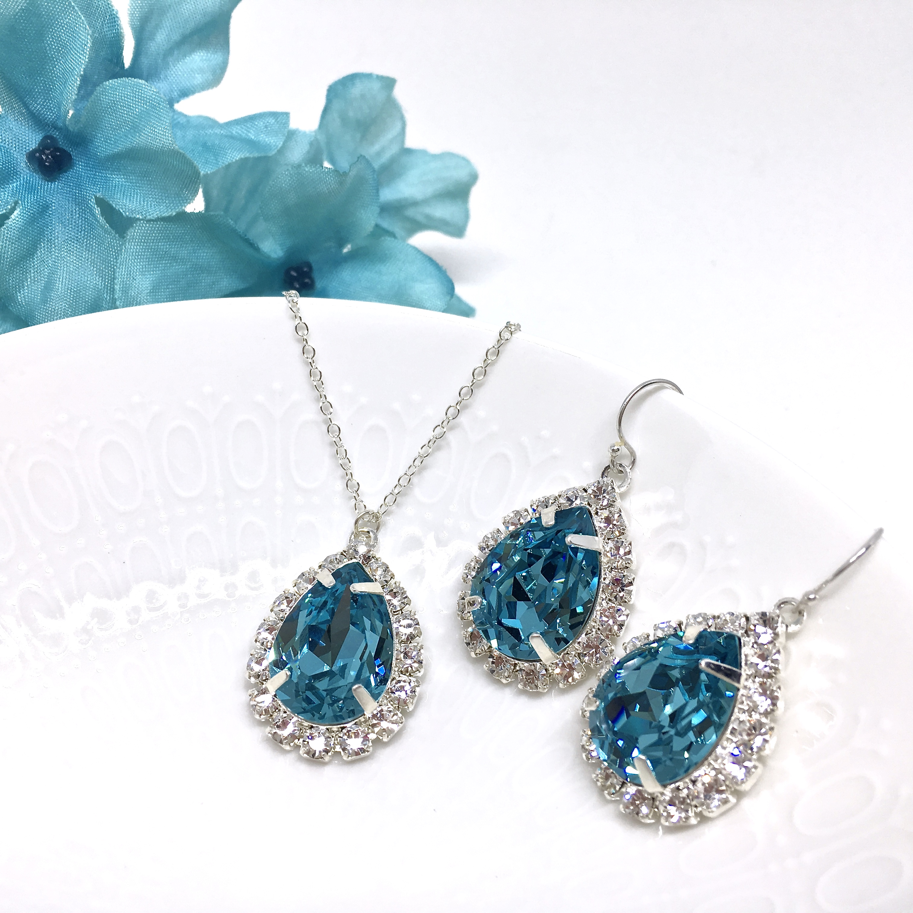 Blue Crystal Prom Jewelry Halo Necklace Pear shaped sterling silver