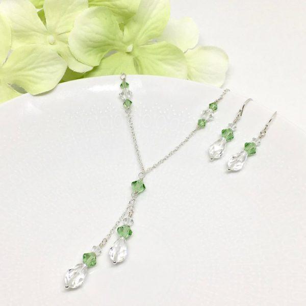 Green Stone Jewelry Peridot Swarovski Crystal Lariat Necklace