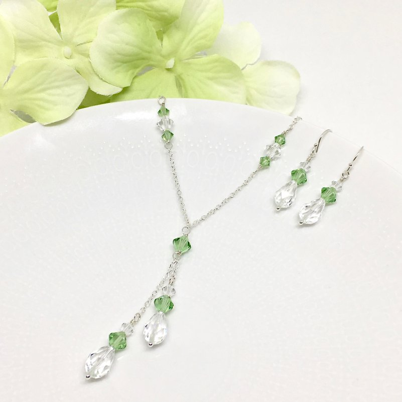 Green Stone Jewelry Peridot Swarovski Crystal Lariat Necklace