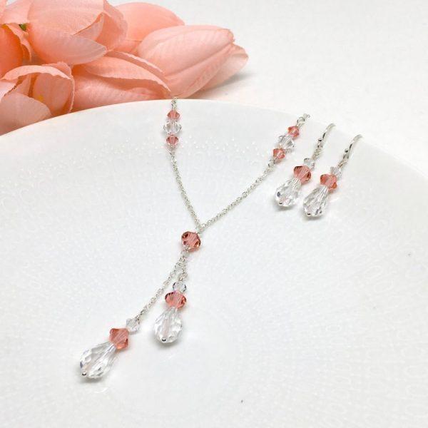Coral Pink Necklace Lariat Teardrop Swarovski Crystal Prom Jewelry