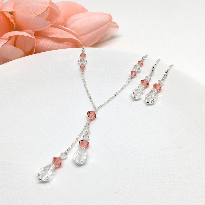 Coral Pink Necklace Lariat Teardrop Swarovski Crystal Prom Jewelry