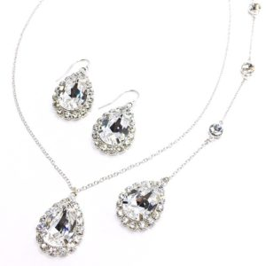 Bridal Jewelry Necklace with Backdrop Sparkly