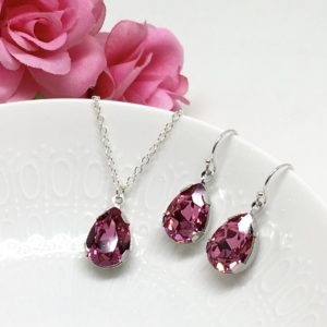 Prom Jewelry Pink Pear Solitaire