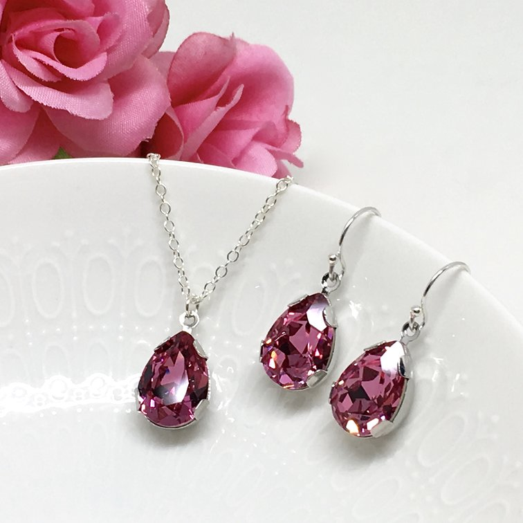 Pink Stone Jewelry Pear Solitaire