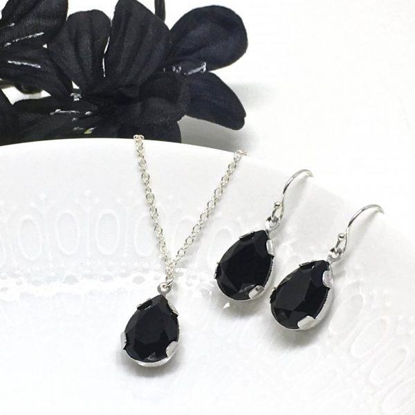Black Swarovski Drop Crystal Pendant Jewelry Set Pear Shaped Rhinestone Bridesmaid Jewelry